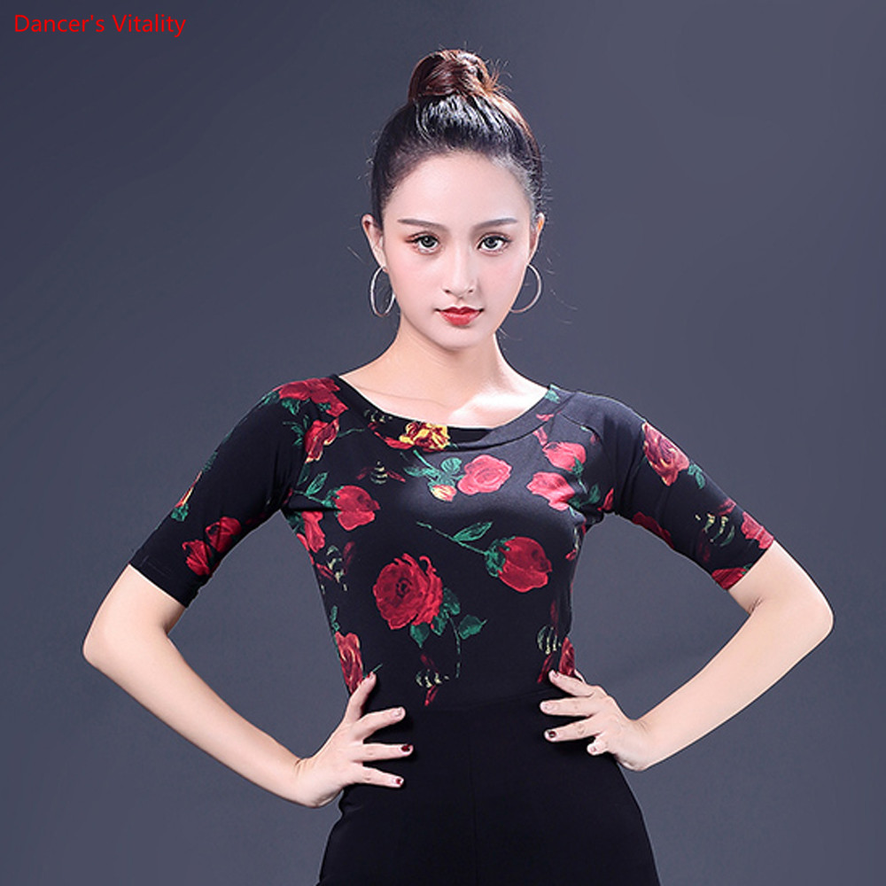 Image 2 - Fashion Print Latin Dance Tops New Adult Female Half Sleeved Practice Clothes Women Ballroom Dance Stage Performance CostumesLatin   -