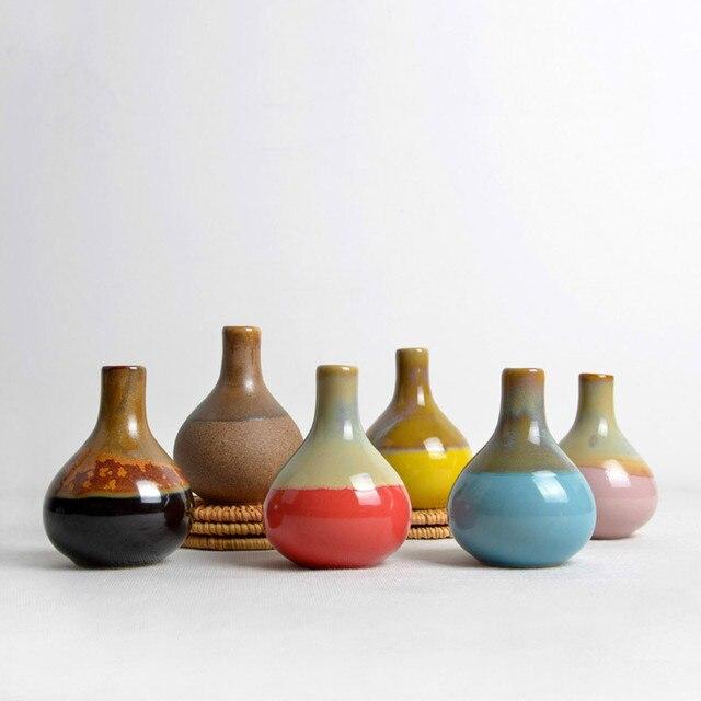 Ceramic Vase Flower Succulent Bonsai Round Square Mini Vase Soft