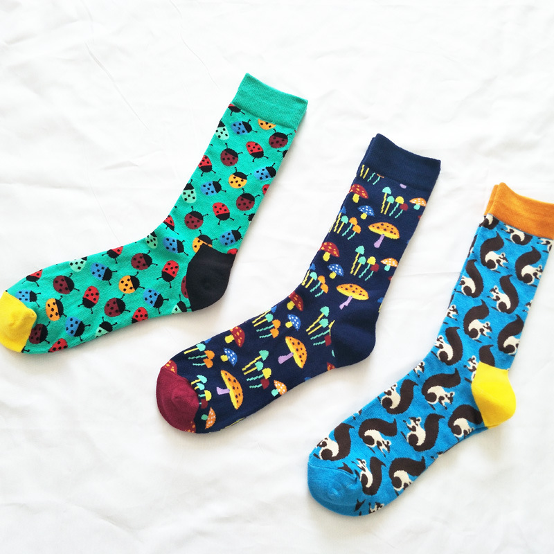 Wholesale 60pairs Personality Cartoon Cotton Socks Casual Funny Novelty Men Women Sock Trend Streetwear Mid-calf Couple Socks