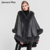 2019 Новое поступление женские 100% настоящие кашемировые и пончо с мехом лисы Модные осенние зимние теплые меховые накидки высокого качества