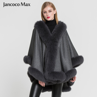 2019 New Arrival Women 100% Real Cashmere & Fox Fur Poncho Fashion Autumn Winter Warm Fur Capes High Quality S7356