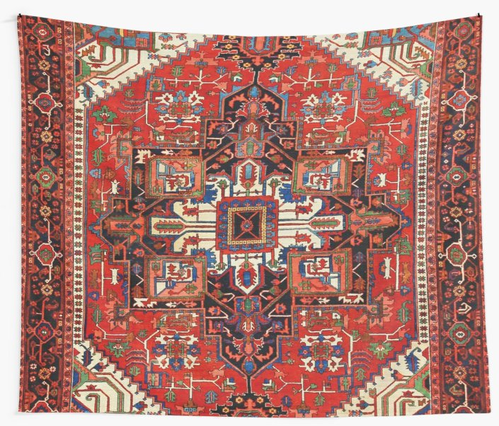 Antique Heriz Persian Rug Wall Tapestry Cover Beach Towel