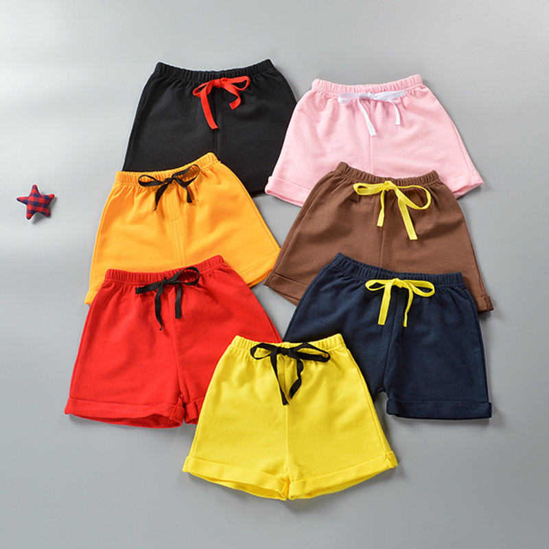 2019 Hot Sale Summer Children   Shorts   Kids Thin Cotton Loose Solid Beach Girls   Shorts   Fashion Elastic Casual Sports Boys   Shorts