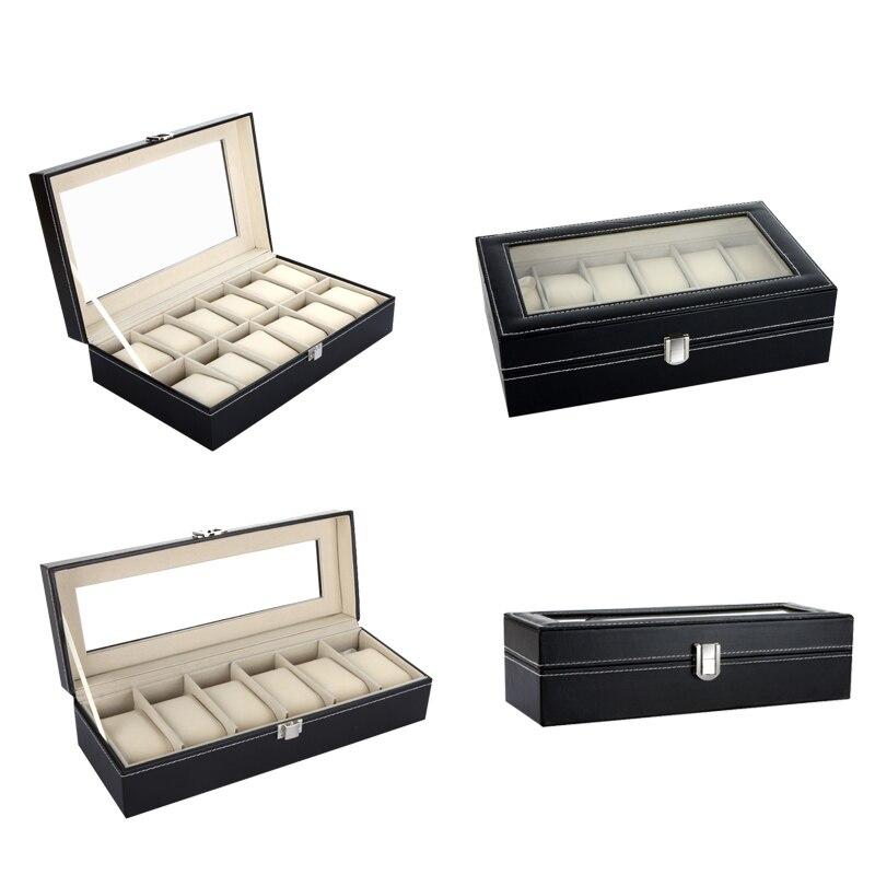 12 6 Grids High-Grade PU Leather Watch Box Storage Holder Ring Jewelry Display Storage Organizer Luxury Watch Case caja reloj black jewelry watch box 10 grids slots watches display organizer storage case with lock