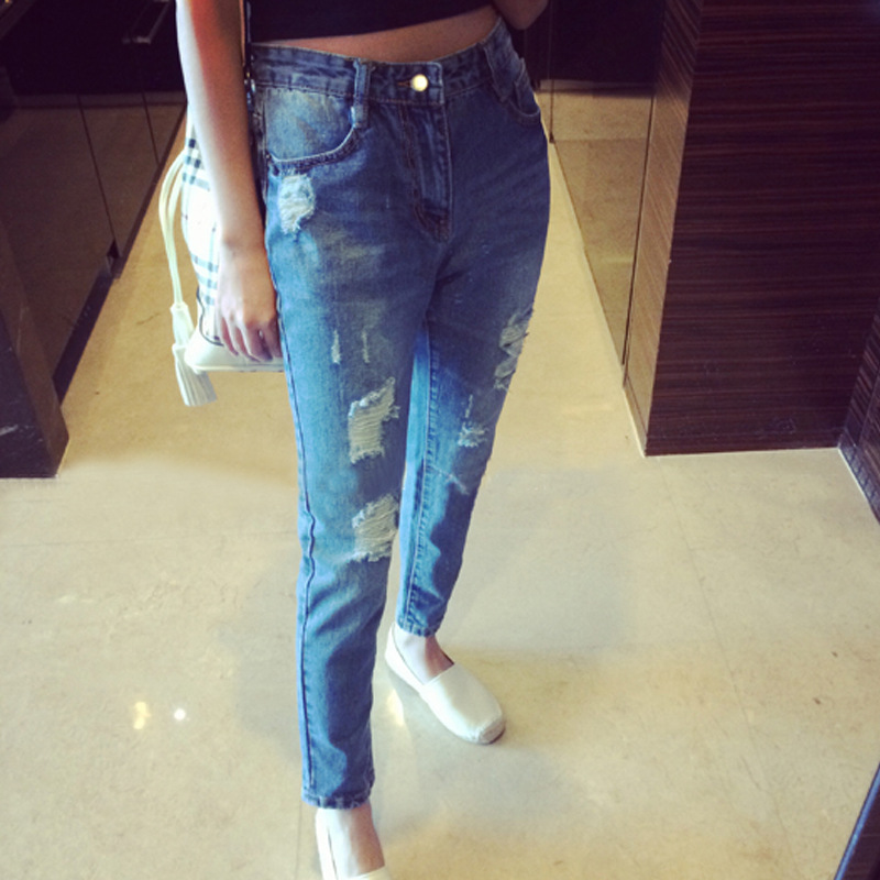 Ladies ankle-length distressed denim harem pants all-match fashion trend loose casual ripped broken hole harem jeans for women new summer vintage women ripped hole jeans high waist floral embroidery loose fashion ankle length women denim jeans harem pants
