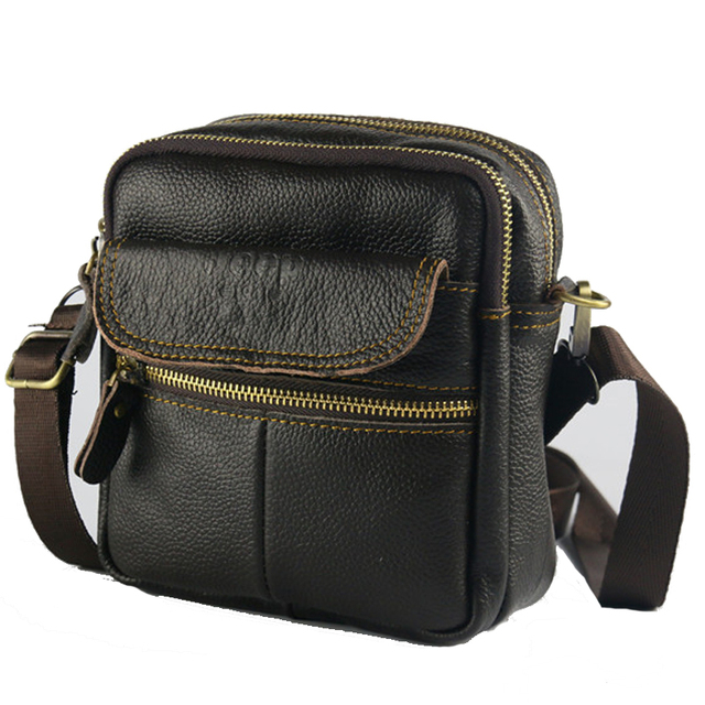 Men Genuine Leather Bag Handbags Mens Utility Belt Cowhide Small Messenger Crossbody Bolsa Sac