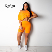 KGFIGU Women sets 2019 New Arrivals two piece set top and pants pullovers and shorts tracksuits casual streetwear womens outfits kgfigu two piece set 2019 summer high neck short sleeve cropped tops and shorts tracksuits women outfits 2 piece set women