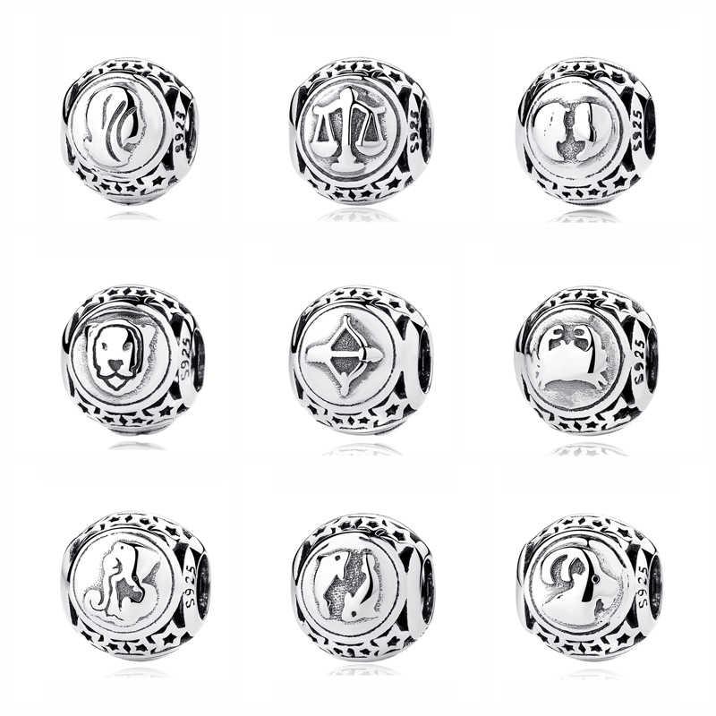 aabea5b86 Original 925 Sterling Silver Bead Charm Libra Leo Star Sign Charms 12 Zodiac  Constellation Fit Pandora