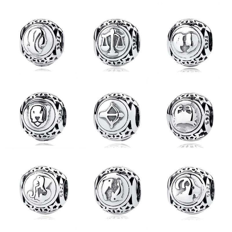 Aliexpress Com Buy 12 Zodiac Signs Constellation: Original 925 Sterling Silver Bead Charm Libra Leo Star