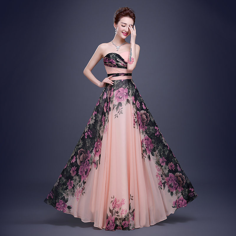 Flower Pattern Floral Print Chiffon Formal Party Gown Long Floral ...
