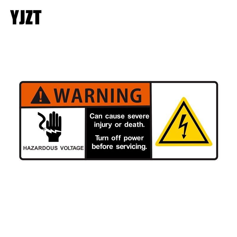 YJZT 12*4.8cm Cartoon Hazardous Voltage Can Cause Severe Injury Or Death WARNING Decals Retro-reflective Car Sticker C1-8174