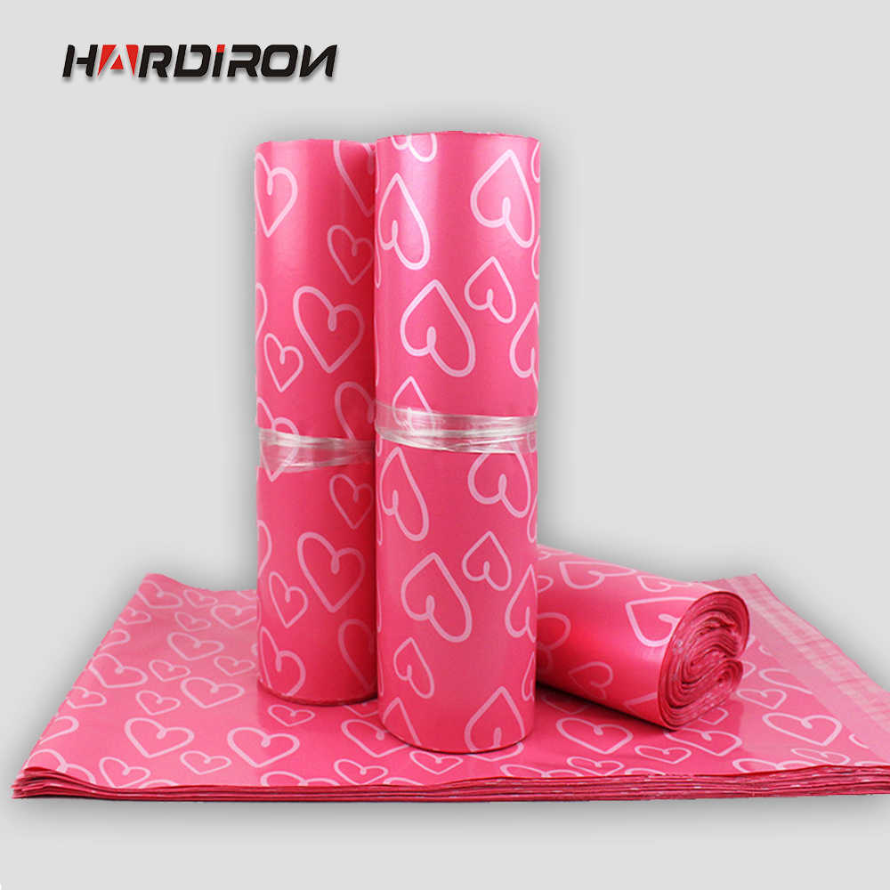 New Plastic Mailbox Pink Heart-shaped Envelope Pouch Thickening Packaging Transport Plastic Express Self-adhesive Postal Packet