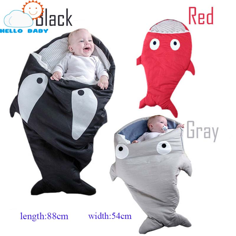 lovely high quality comforttable soft Cute Cartoon Shark Baby Sleeping Bag Winter children Sleep Sack kid Blanket Warm Swaddle