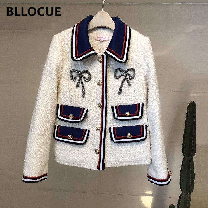 BLLOCUE High Quality 2018 Winter Runway Tweed Jacket Coat Women Turn Down Collar Long Sleeve White