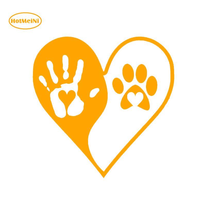 US $0 8 60% OFF|HotMeiNi Fashion Heart Yin Yang Hand Dog Paws Print Vinyl  Decals Car Sticker For Car Window Black/Silver Accessories 13*13cm-in Car