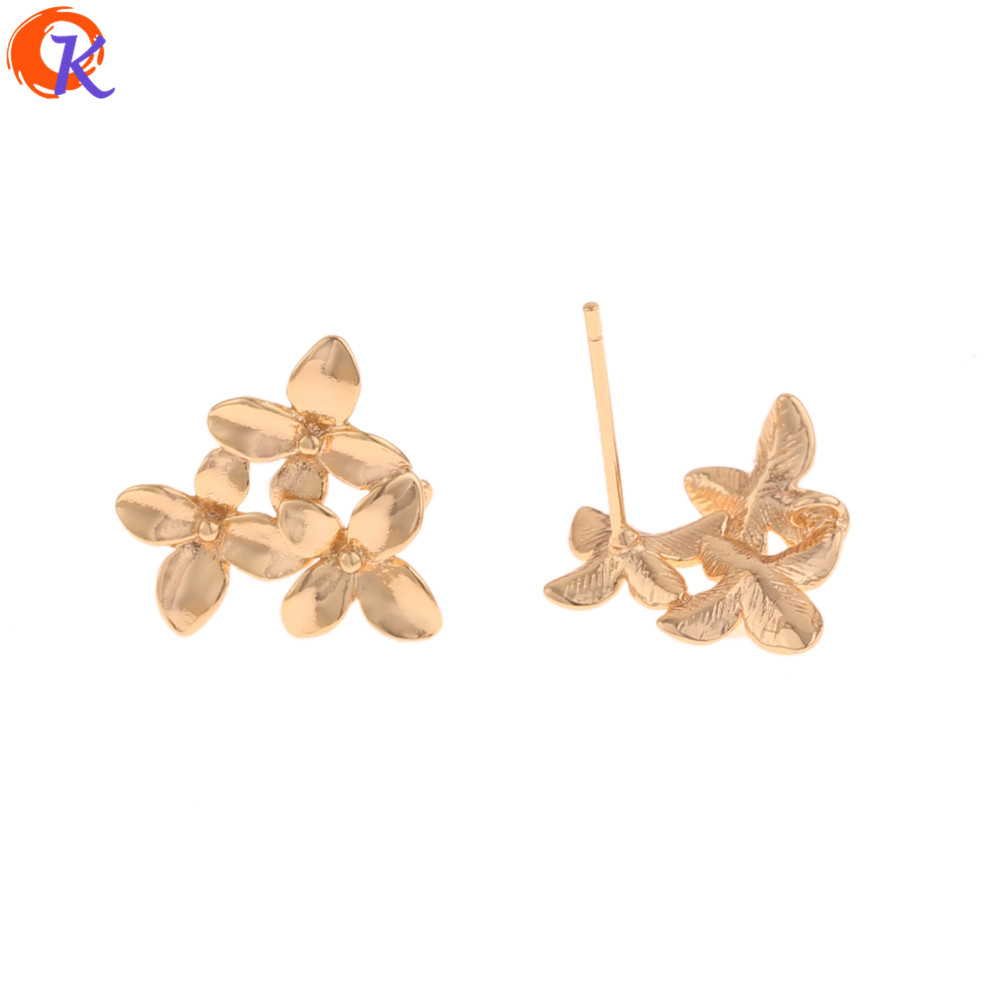 Cordial Design 30Pcs 13*14MM Jewelry Accessories/DIY/Earrings Stud/Genuine Gold Plating/Flower Shape/Hand Made/Earring Findings