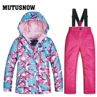 MUTUSNOW 2019 Girl Ski Suit Waterproof Windproof Ski Snowboard Bid Warm Thermal Kid Hooded Little Children Clothing Costume Set