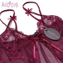 Avidlove Transparent Lace Lingerie Sexy Erotic Hot Women Babydoll Chemise Night Dress Underwear Nightwear Sex Costume Intimates
