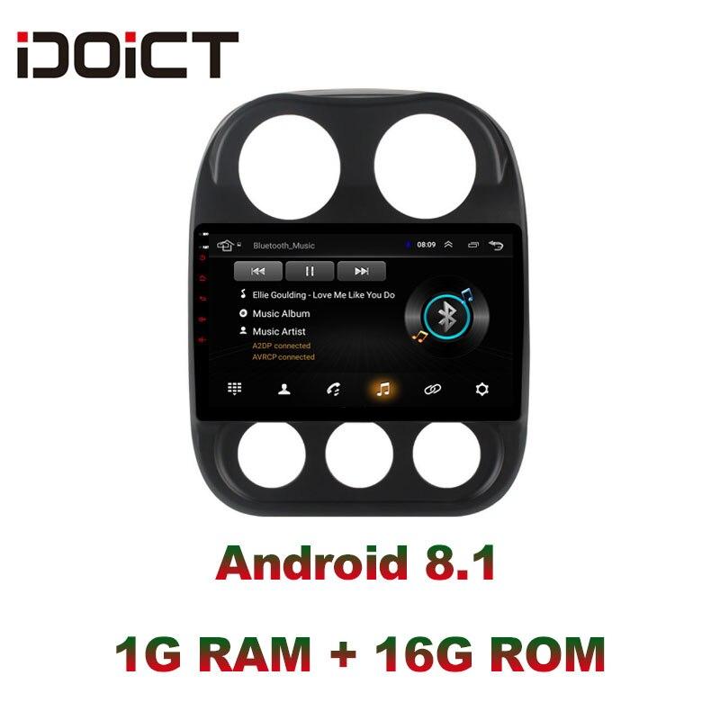 Lecteur DVD de voiture IDOICT Android 8.1 Navigation GPS multimédia pour JEEP boussole Patriot Radio 2009-2016 autoradio wifi DSP