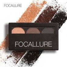 3 Color Waterproof Eye Shadow Eyebrow Powder Make Up Palette Women Beauty Cosmetic Eye Brow Makeup Kit Set by Focallure