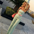 2017 Nova Mint Verde Macacão Plus Size 2 Peças Sexy Strapless Jumpsuit Mulheres Macacões Casual Macacões Ladies Bodycon Playsuit