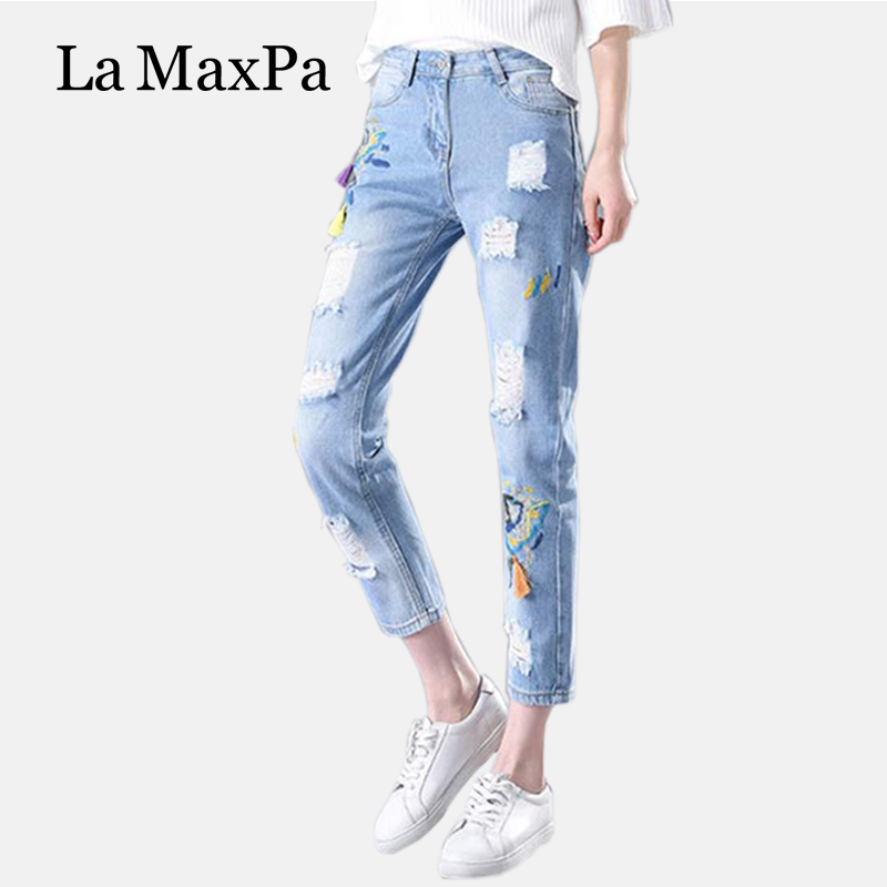 American Apparel Fashion Rushed Washed Embroidery Zipper Fly Pencil Pants Stripe Mid Hole Cotton Vintage Regular Women Jeans knowledge cotton apparel кардиган knowledge cotton apparel модель 28184321