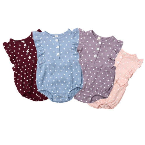 Baby Girls   Romper   Star Print Sleeveless Jumpsuit Summer Clothes Outfits