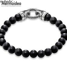 11a2b067fb02 De plata de ónix negro con cierre longitud 16-25 cm para los hombres las  mujeres regalo de moda rebelde pulsera abeto del encant.