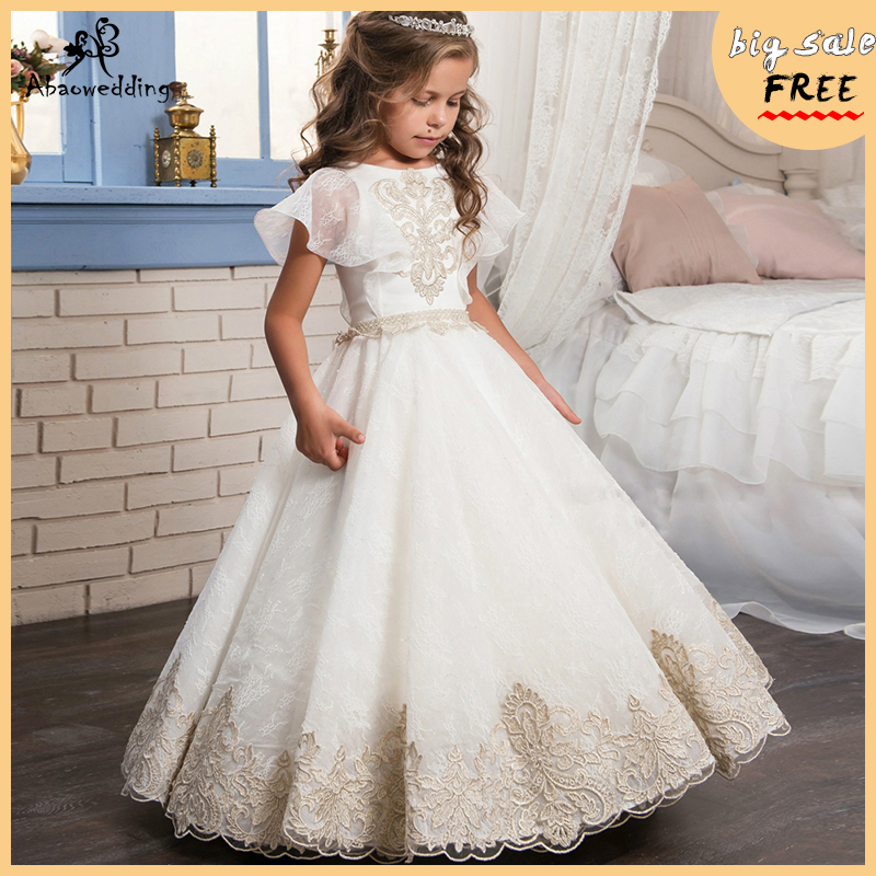 Fancy Flower Girl Dress Gold Appliques Formal Christmas Ball Gowns Solid Pearl Zipper Pageant Dresses for Girls Glitz 2-12 Year girl