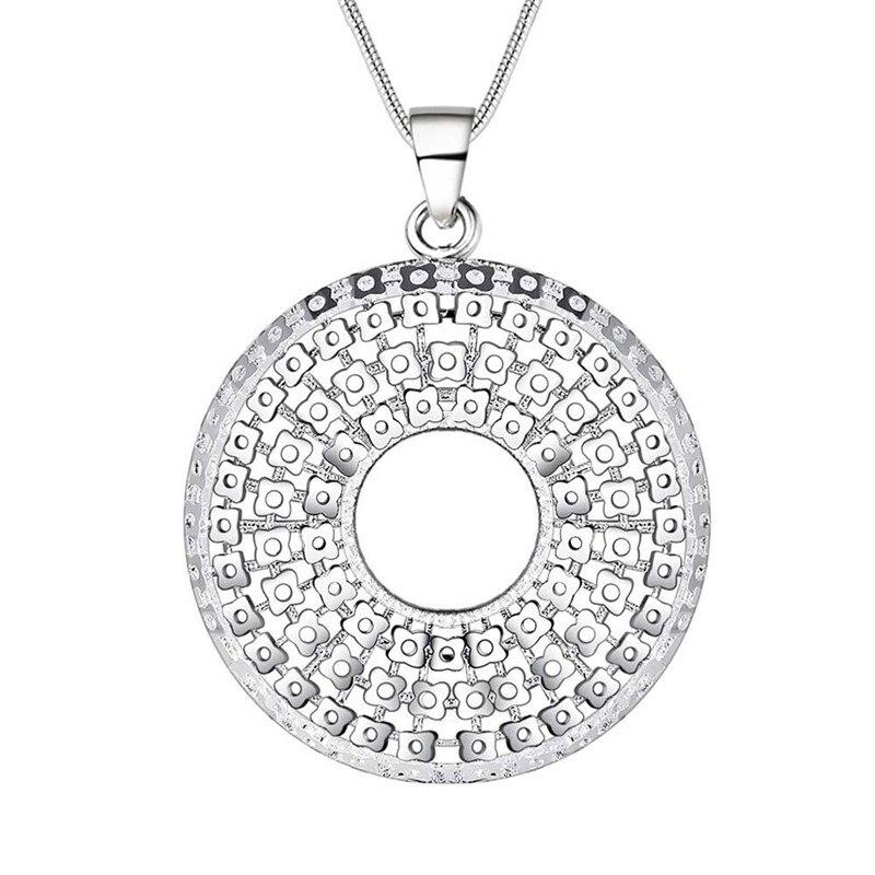 a32ce8188518 Plata pura ronda círculo COLLAR COLGANTE para las mujeres accesorios de  joyería de moda al por mayor precio de fábrica
