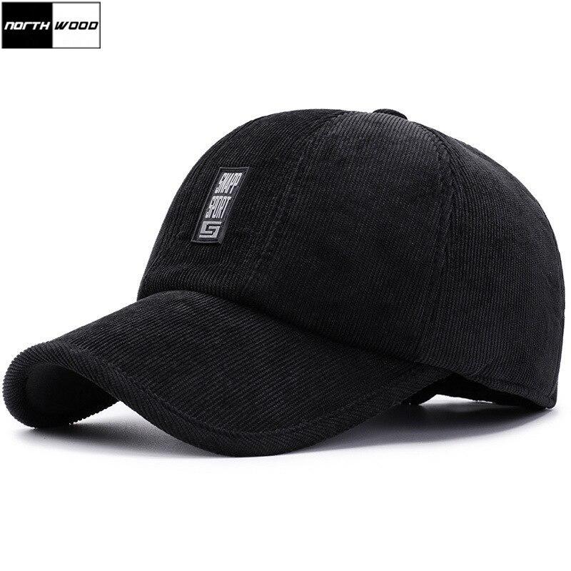 e1cc80809de7c  NORTHWOOD  Winter Baseball Caps For Men With Earflaps Corduroy Warm Dad Hats  Male Bone