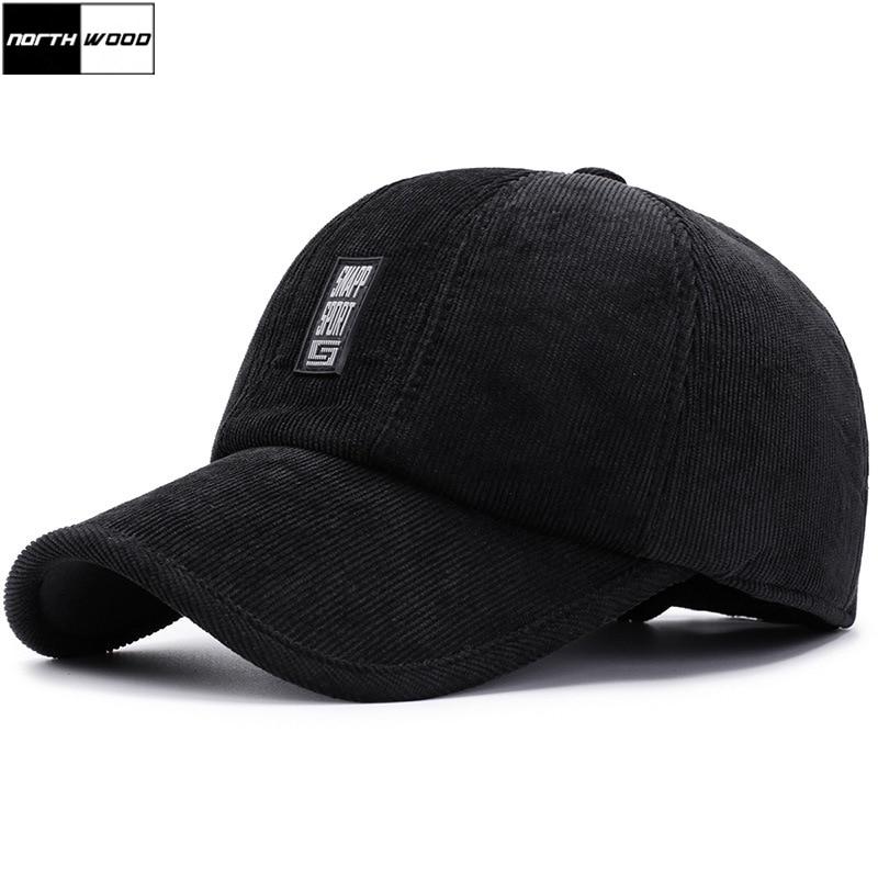 [NORTHWOOD] Winter   Baseball     Caps   For Men With Earflaps Corduroy Warm Dad Hats Male Bone Gorras Casquette Trucker Hat   Caps
