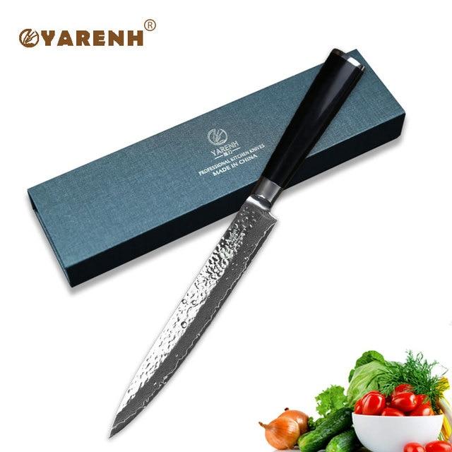"YARENH 8 ""meat Cleaver พร้อม Micarta Handle มีดครัวญี่ปุ่นดามัสกัสเหล็กมีดซาชิมิมีดทำอาหารจัดส่งฟรี"