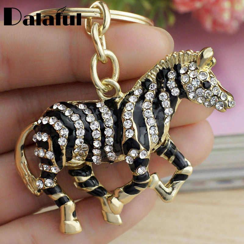 Dalaful Đen Zebra Horse Pha Lê Rhinestone Kim Loại Bag Pendant Key chains Chủ phụ nữ Dây Móc Khóa Móc Khóa Cho Xe K180