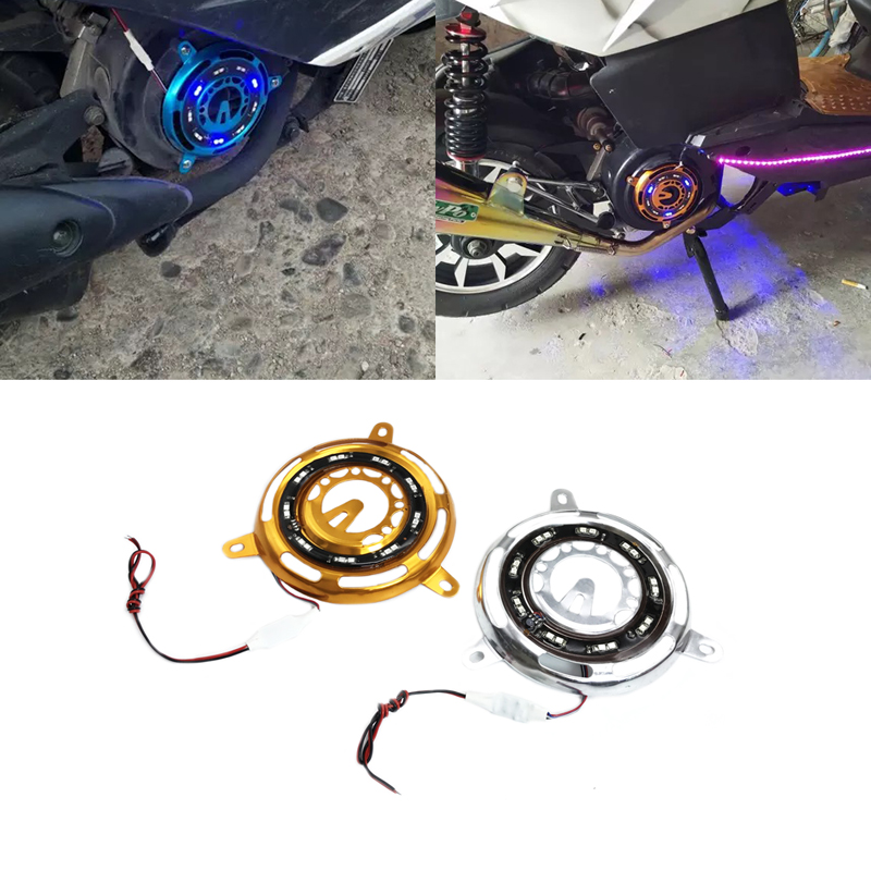 JEAZEA Motorcycle Motorbike Bicycle Scooter Engine Cooling Fan Cover Frame with Colorful Lights For GY6 125 150 152 Accessories