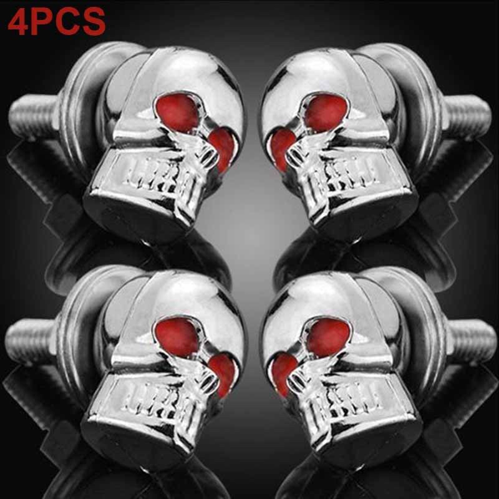 4 Black Custom License Plate Frame Screw Snap Caps Covers Chrome Skull F