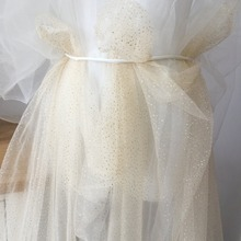 5 Yards Exquisite Soft Champagne Tulle With Gold Dotted Glitter for Bridal Veils, Birdcage, Flowers, Wedding Bouquet, Tutu