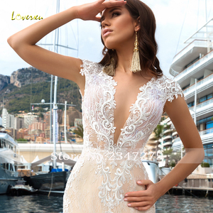 Image 4 - Loverxu Sexy Illusion V Neck Lace Mermaid Wedding Dresses 2020 Embroidery Appliques Court Train Trumpet Vintage Bridal Gowns