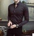 2017 boutique de camisa masculina 100% de algodón de alta calidad punto de la onda de moda salvaje camisa de la flor masculina ocasional de la manera