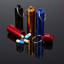 Pill Box Case Bottle Cache Drug Holder Container Keychain Medicine Box Health Care Waterproof Aluminum cache replacement