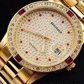 Водонепроницаемые кварцевые часы REGINALD  кварцевые часы золотого цвета с кристаллами даты  50 метров