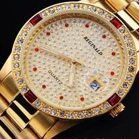 50 Meters Waterproof Good Quality Brand REGINALD Luxury Golden Man Quartz Wristwatches Date Crystal Gift Dress Quartz Watches