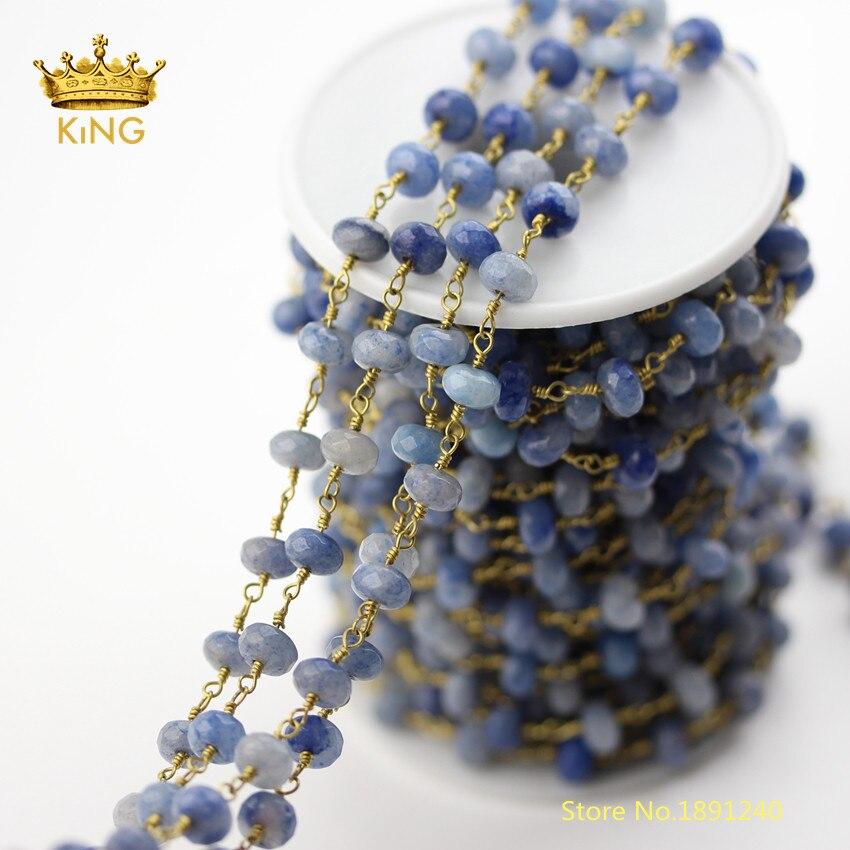 5 mètres de pierres Aventurine bleues perles en vrac charmes chaînes pour collier, facettes Rondelle Aventurine fil chapelet chaînes en vrac ZJ236