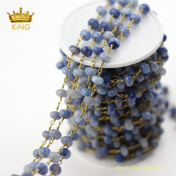 5meters Blue Aventurine Stones Loose Beads Charms Chains for Necklace,Faceted Rondelle Aventurine Wire Rosary Chains Bulk ZJ236 фото