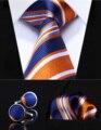 "TZS06N8 Naranja Rayado Azul 3.4 ""de Seda Hombres Corbata del lazo Pocket Square Pañuelo Gemelos Set Wedding Party Classic Corbata"