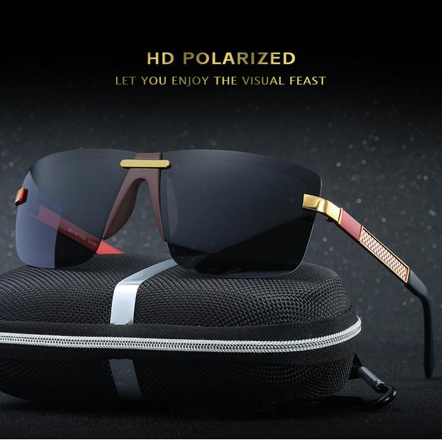 HD Óculos Polarizados Óculos Sem Aro Homens Óculos De Sol 2017 de Luxo Da Marca Designer Gafas Oculos de sol Masculino Polarizado Espelhado