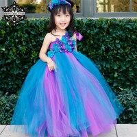 Princess tutu ragazza di fiore del pavone tutu dress singola spalla cinghia del bambino bambini festa di compleanno di cerimonia nuziale di tulle vestito da spettacolo costume