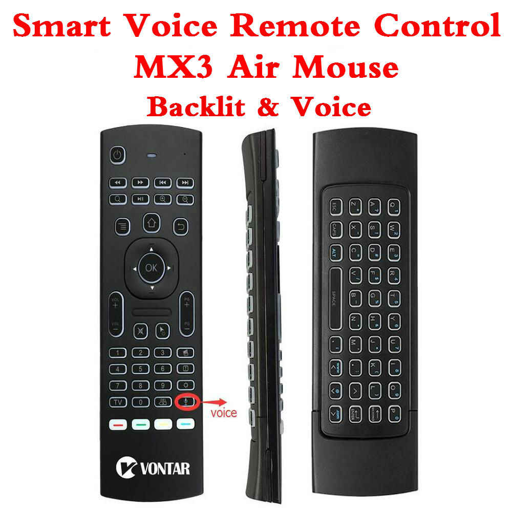 Backlight MX3 PRO Air Mouse Voice Remote Control 2.4G Wireless Keyboard MX3 Russian English IR Learning For T9 X96Max TV BOX