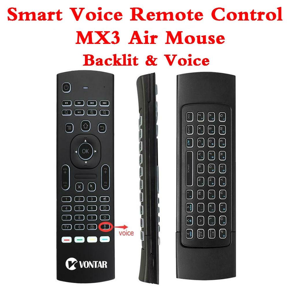 Retroiluminación MX3 PRO Air Mouse Control remoto de voz 2,4G teclado inalámbrico MX3 ruso inglés IR aprendizaje para T9 X96Max caja de TV