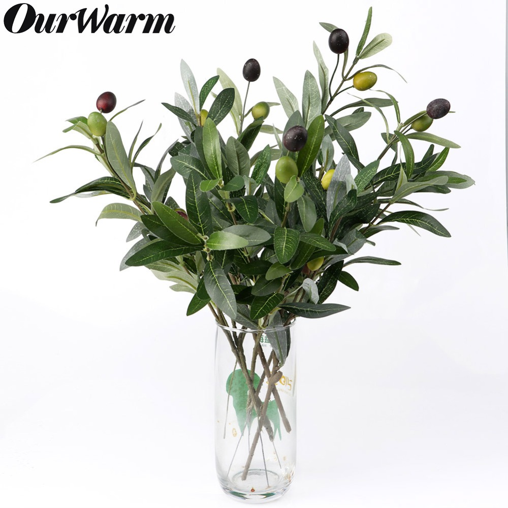 OurWarm Green Artificial Plant Olive Branch With Olive Artificial Flowers Wedding Party Table Decoration Home Vase Decor